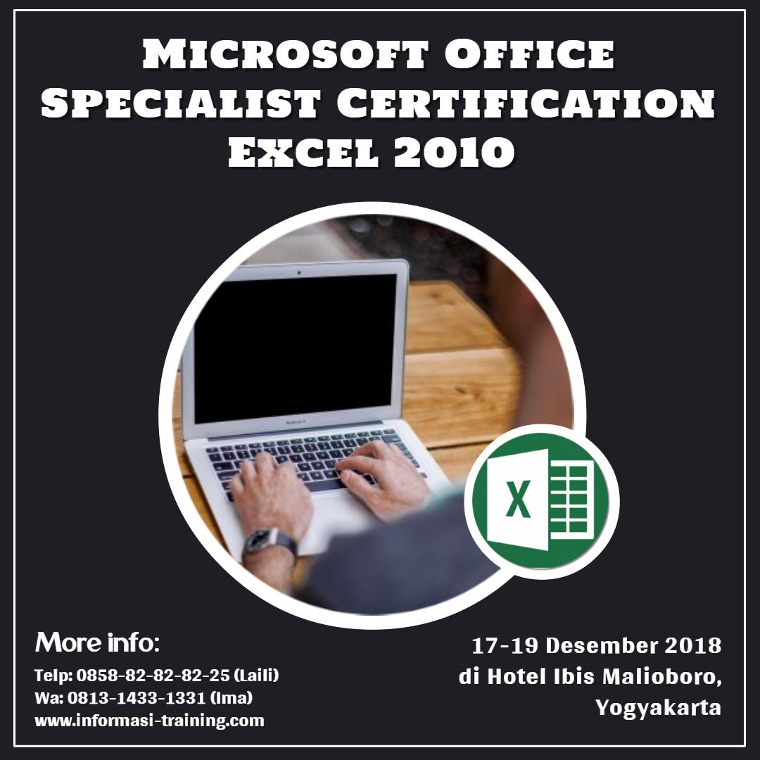 training sertifikasi microsoft excel 2010